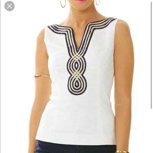 Lilly Pulitzer Janice White tank w gold and navy